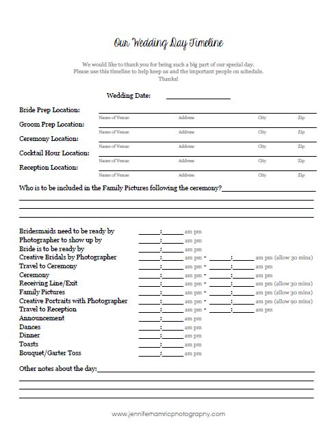 wedding tips planning a timeline of your day jennifer hamric photography. Black Bedroom Furniture Sets. Home Design Ideas